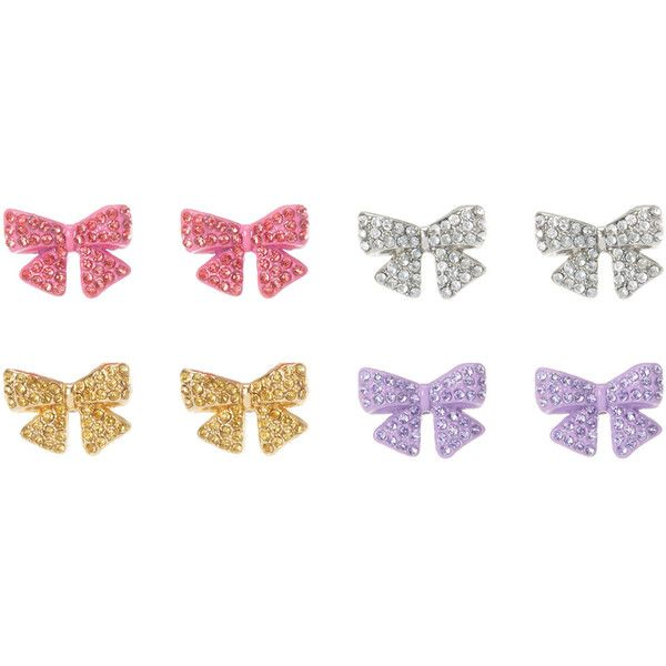 Jojo Siwa Rhinestone Bow Stud Earrings 39 Liked On Polyvore Featuring Jewelry Purple