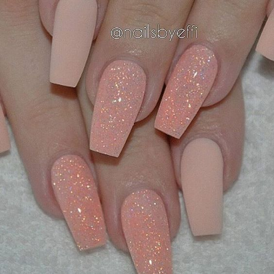This peach matte glitter by @nailsbyeffi though | Nails | Pinterest ...