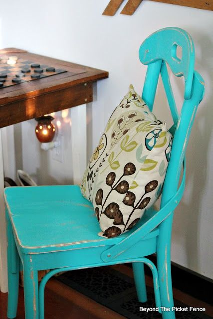 Thrift Store Chair Makeover Fusion Mineral Paint In Azure