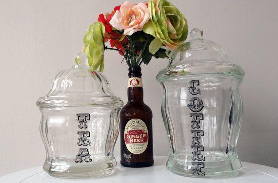 Beautiful vintage glass coffee and tea storage jars