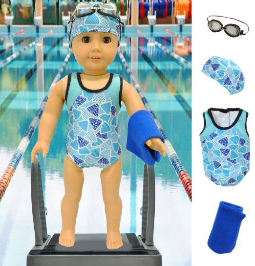 "Black  Swim Goggles  Fits 18/"" American Girl  Dolls"