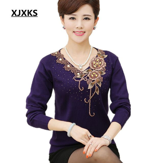 XJXKS new women s sweater autumn long-sleeve pullovers femme knitted wool  sweater embroidery mother clothing 7e7e549f5