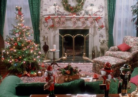 The Living Room Much Like Rest Of Home Is Traditional In Style Matching Green Damask Curtains Sofa Christmas Wreath Wallpaper And A Classic