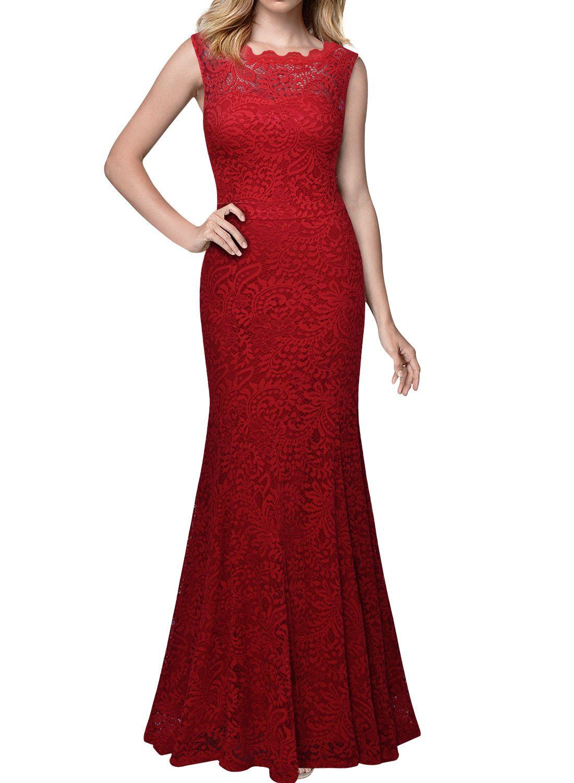 Women S Formal Evening Maxi Dresses Vintage Floral Lace Sleeveless Wedding Party Long Dresses Red 3xl Ad Formal Dresses For Women Dresses Maxi Dress Evening [ 1500 x 1100 Pixel ]