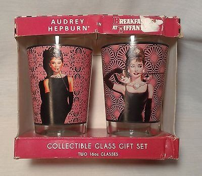 AUDREY HEPBURN Breakfast at Tiffanys Collectible Glass Gift Set 16oz Damaged Box