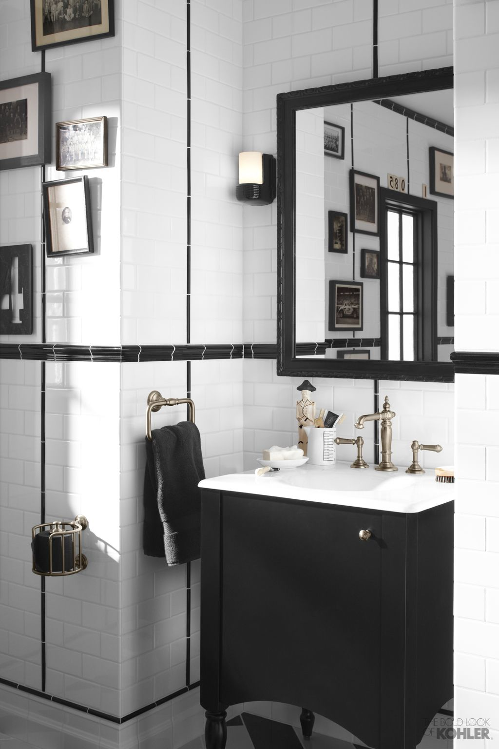 The Bold Look of   Bathroom black, Black white bathrooms and Powder room
