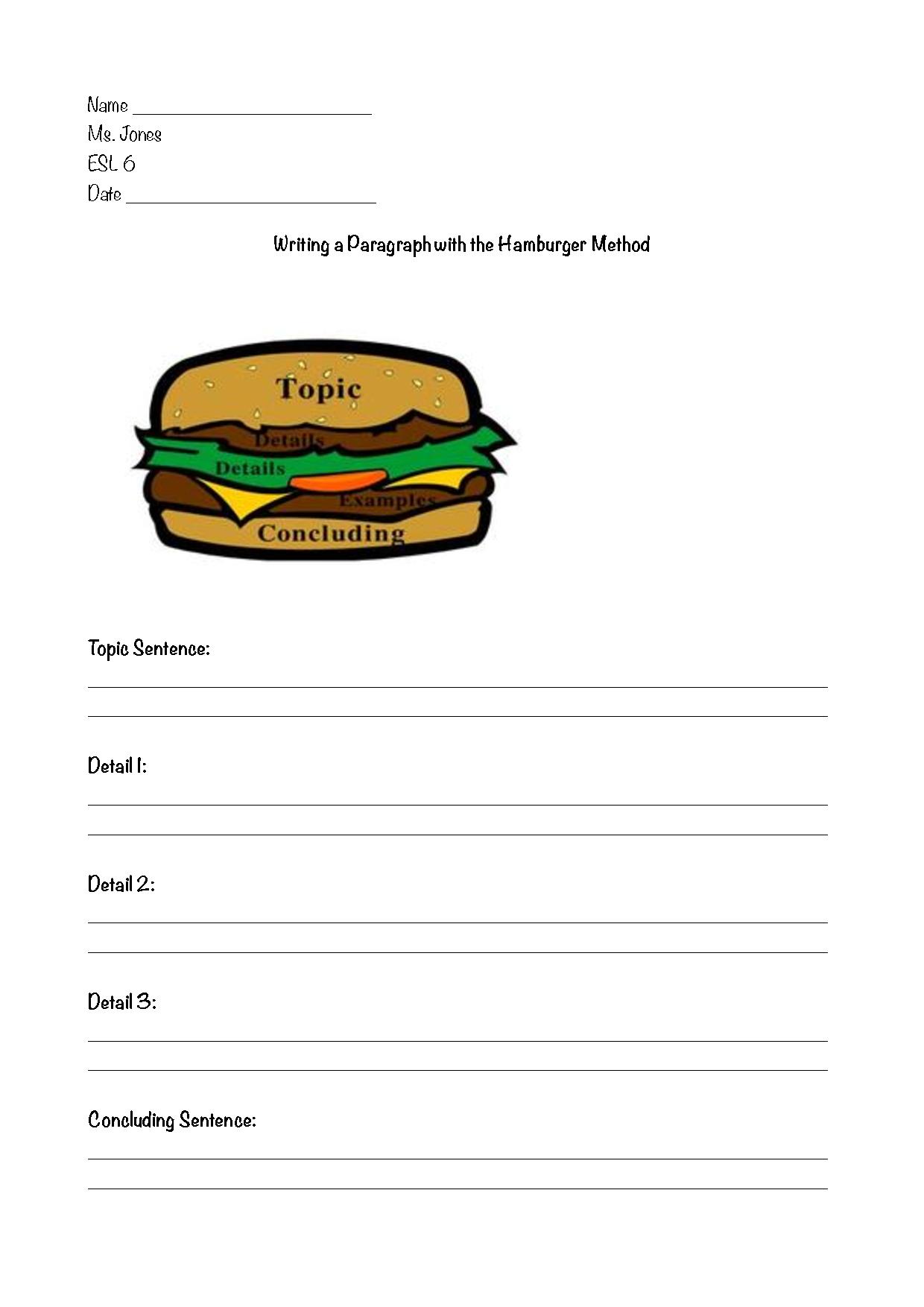 Hamburger Organizer For Writing Template