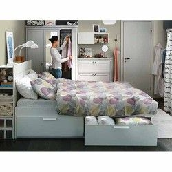 BRIMNES Full Bed Frame With Drawers     Houston Chronicle