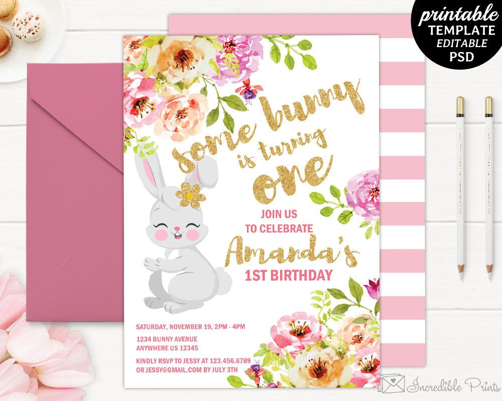 Girl Birthday Invitation Template. Printable Bunny Birthday Invitation.  Watercolor Floral Flower Gold And Pink DIY PDF PSD Download  Birthday Invitation Template Printable
