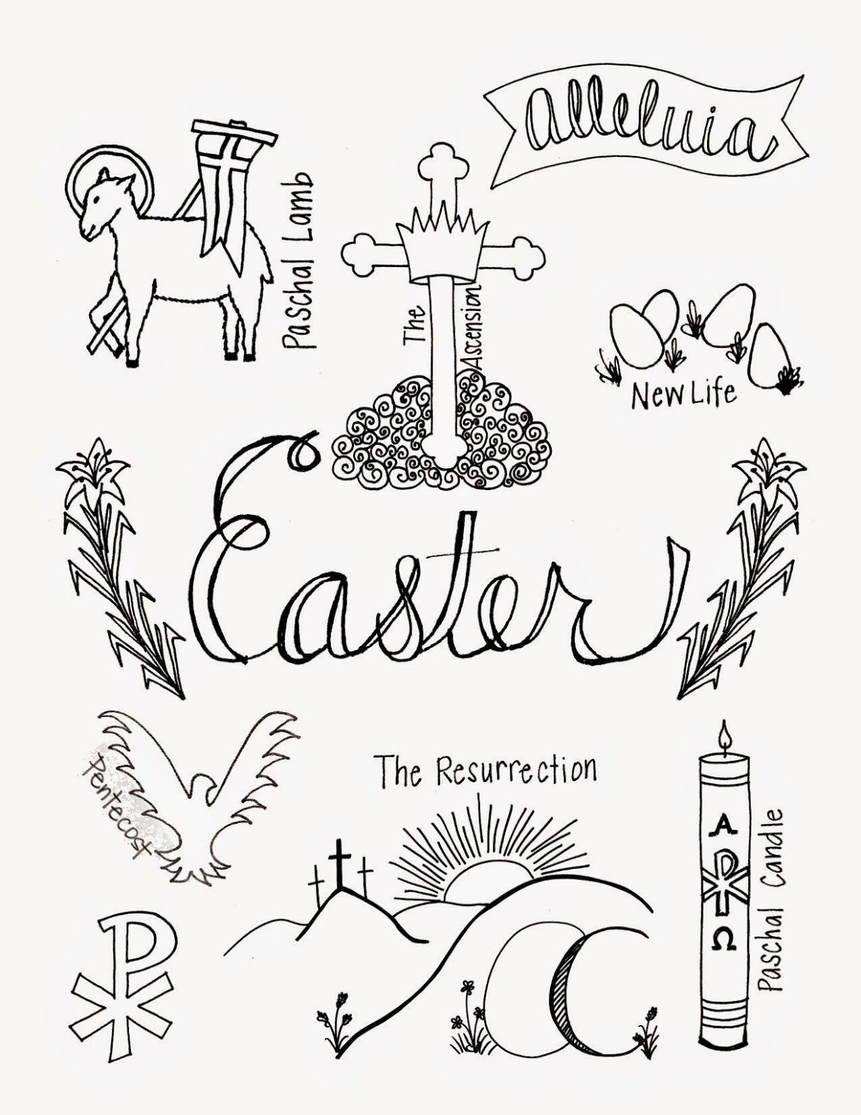 What easter looks like coloring page with symbols of easter what easter looks like coloring page with symbols of easter look to him and buycottarizona Images