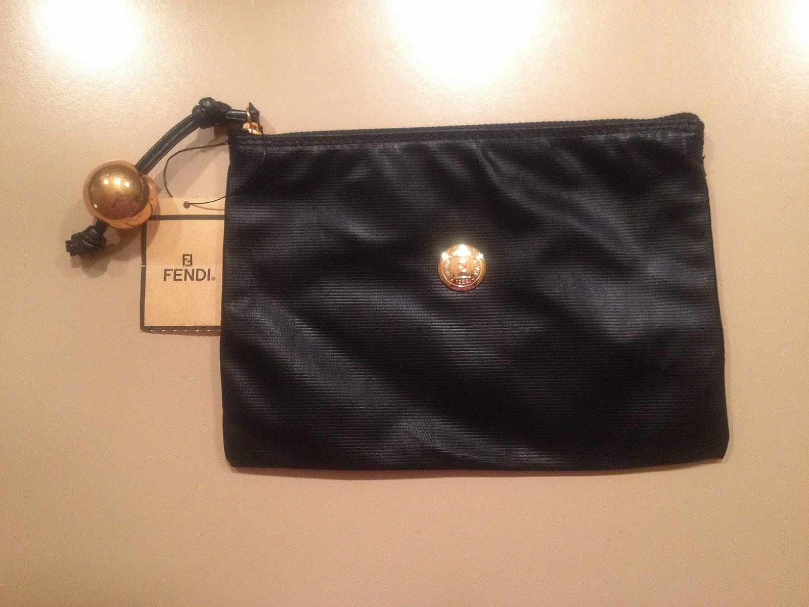 Fendi Vintage Black Soft Pequin Cosmetic Makeup Bag eBay