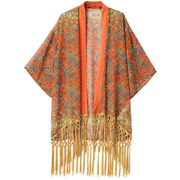 Retro Style National Wind Print Tassel Splice Kimono Orange ($23) ❤ liked on Polyvore featuring intimates, robes, kimono, orange kimono, orange robes, kimono robe, print kimono and patterned robes