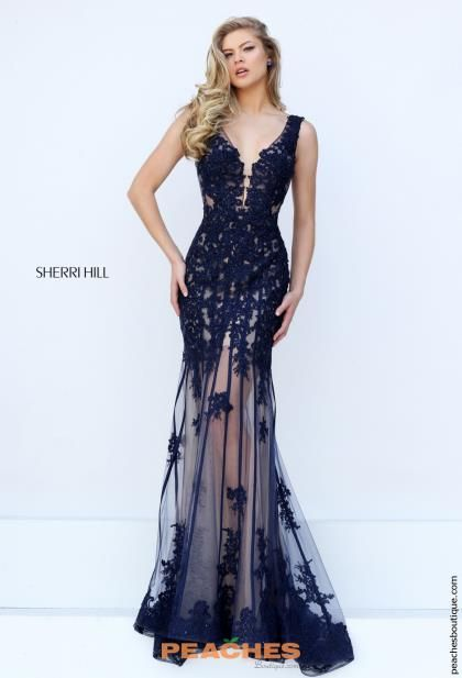 Sherri Hill Navy Lace Fitted Dress 50256