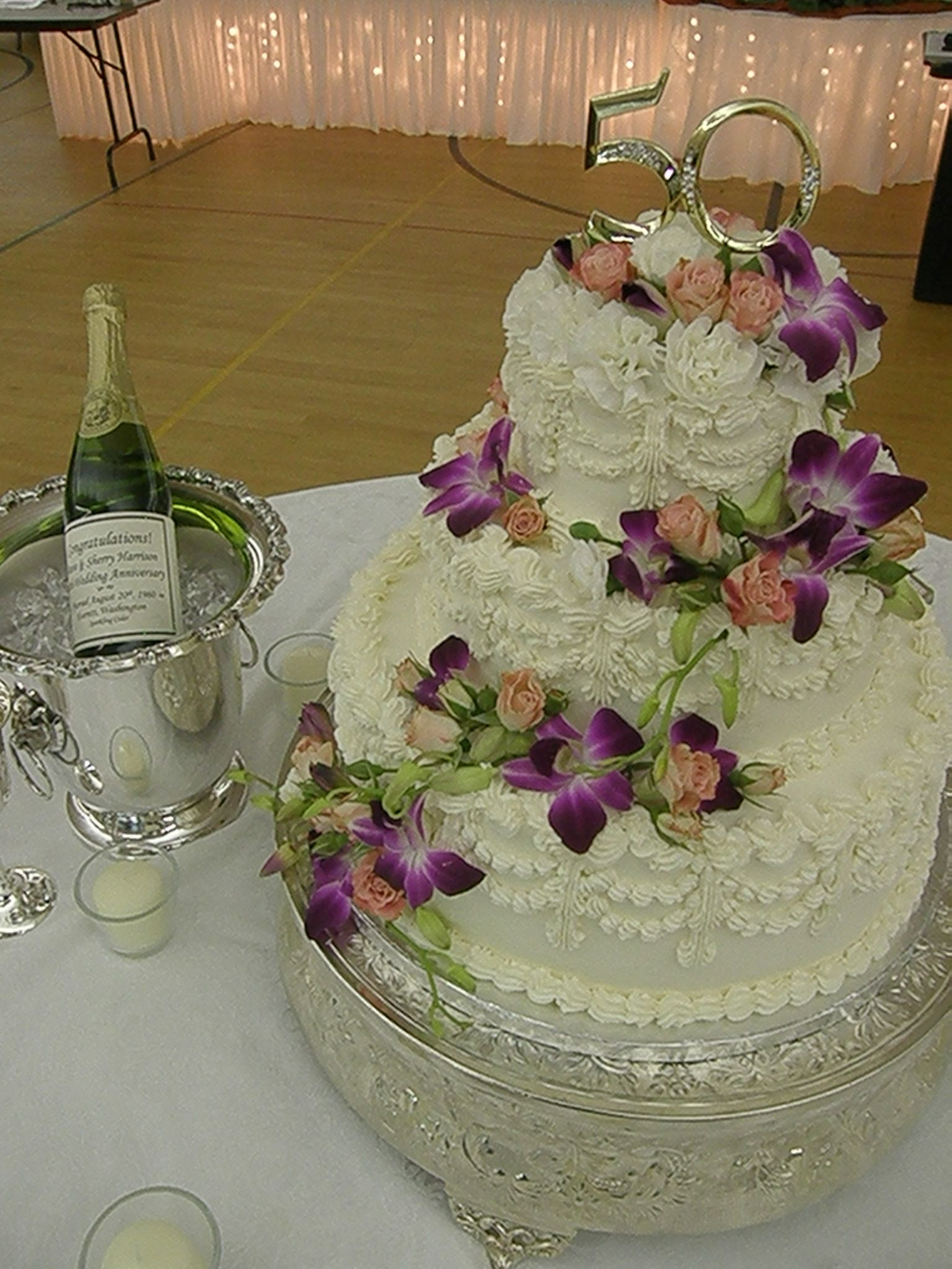 Old fashioned wedding cake for a 50th wedding anniversary
