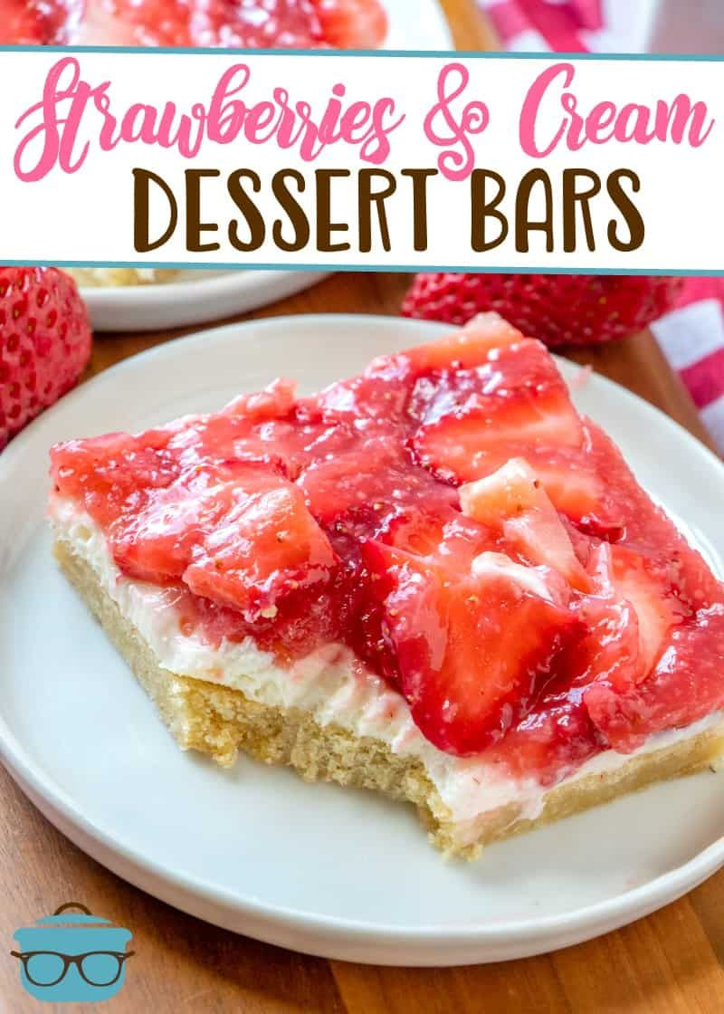 STRAWBERRIES AND CREAM DESSERT BARS | The Country Cook