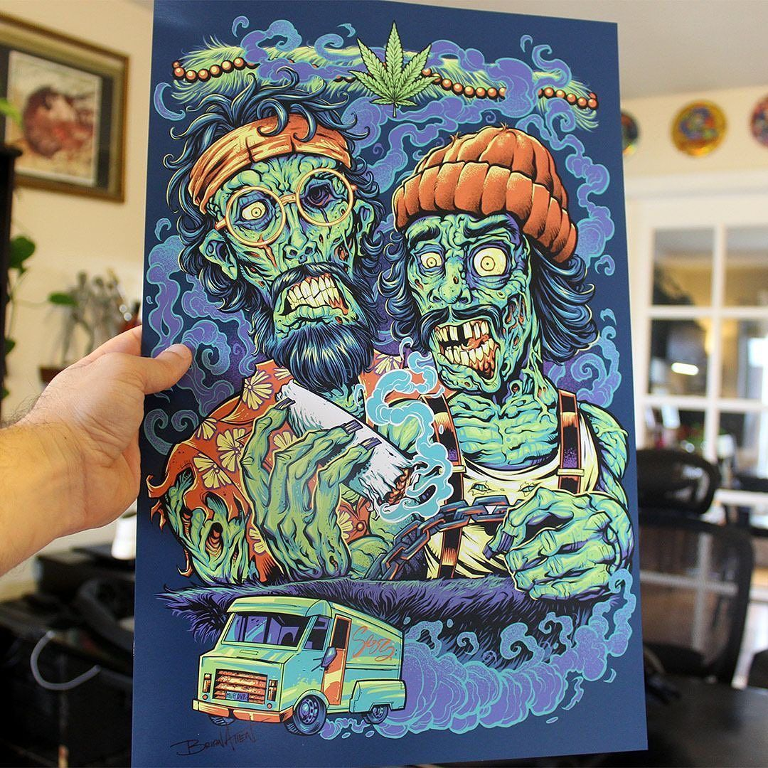 My Cheech and Chong zombies art print is now back in stock in my shop! Thanks for all the requests for this. Signed by the Artist. Printed on high-quality cover stock matte paper with archival inks.  #cheechandchong #cannabisart #marijuanaart #zombieart #artprints #artprintsforsale #artposter #posterart #flylanddesigns #artist #instaartist