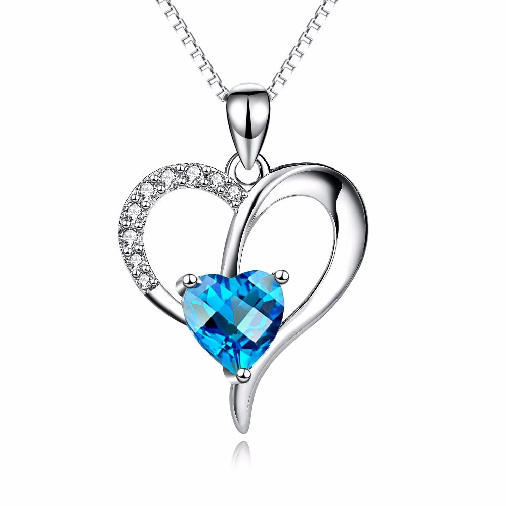 Womens 925 Sterling Silver Necklace Chain Crystal Love Heart Pendant Gift Box