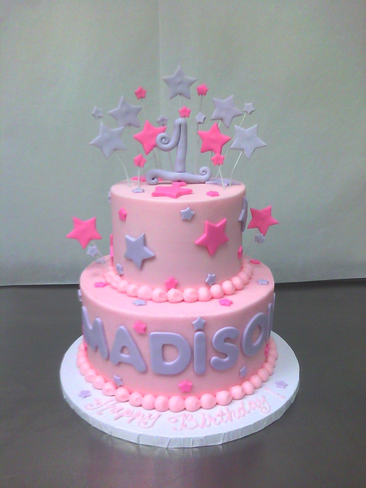Pink Purple 1st Birthday Cake With Images Cake Decorating