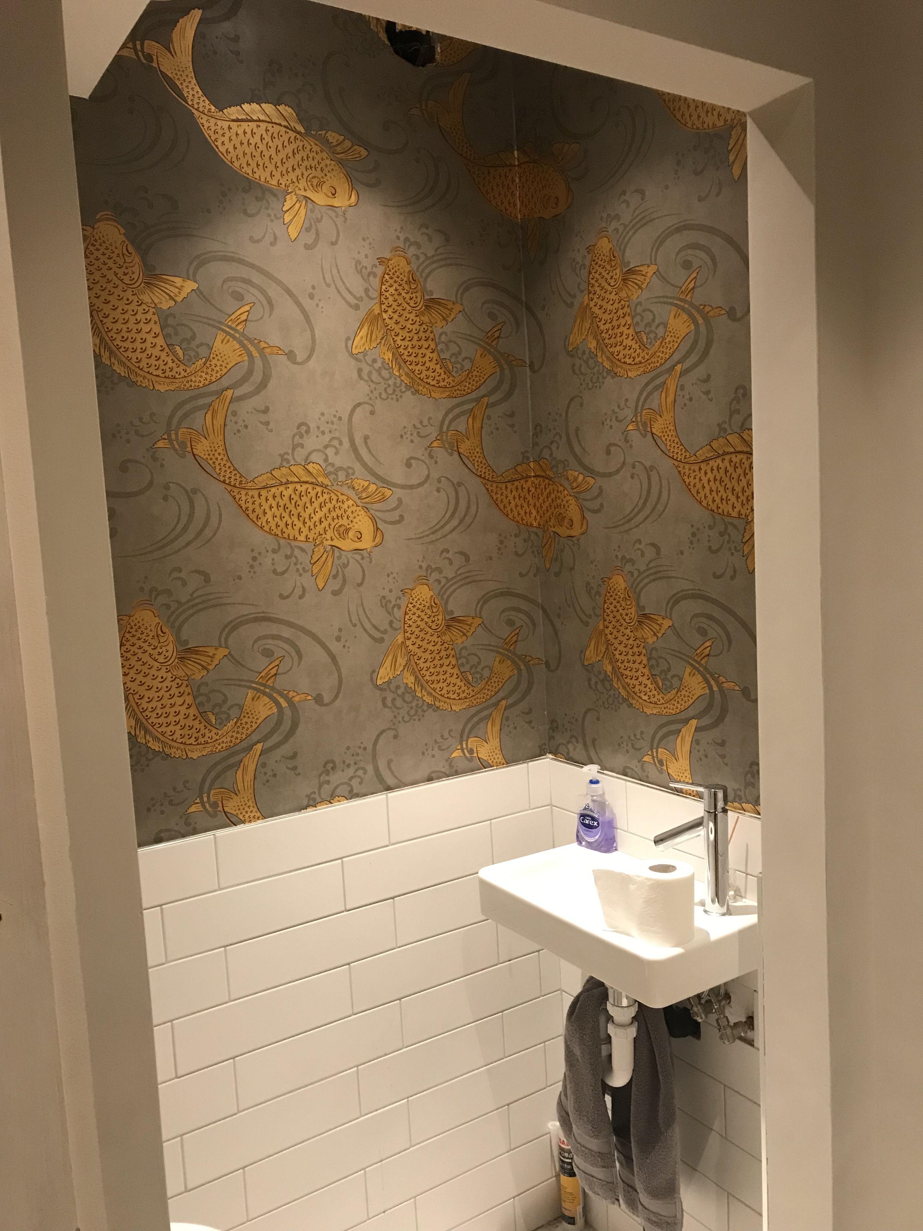 Koi Carp Wallpaper Toilet Room Decor Bathroom Wallpaper Fish Bathroom Wallpaper
