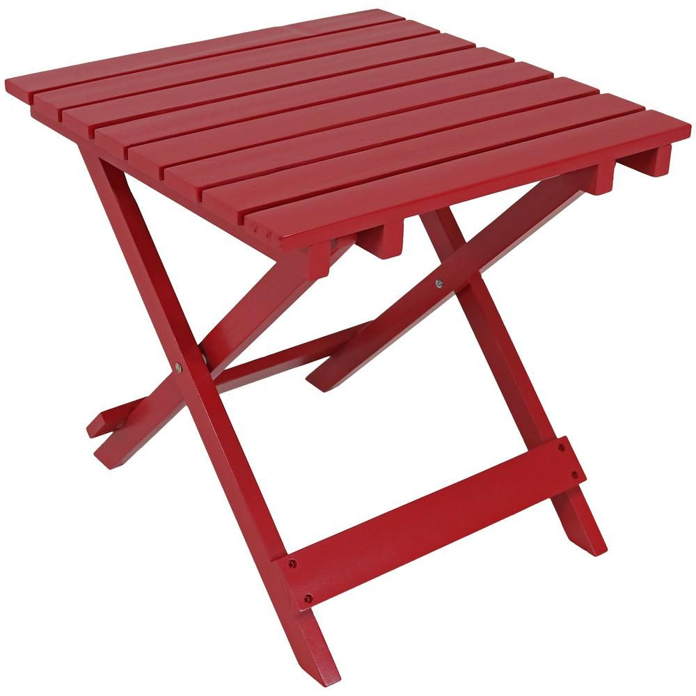Sunnydaze Decor Red Square Wood Outdoor Side Table Outdoor
