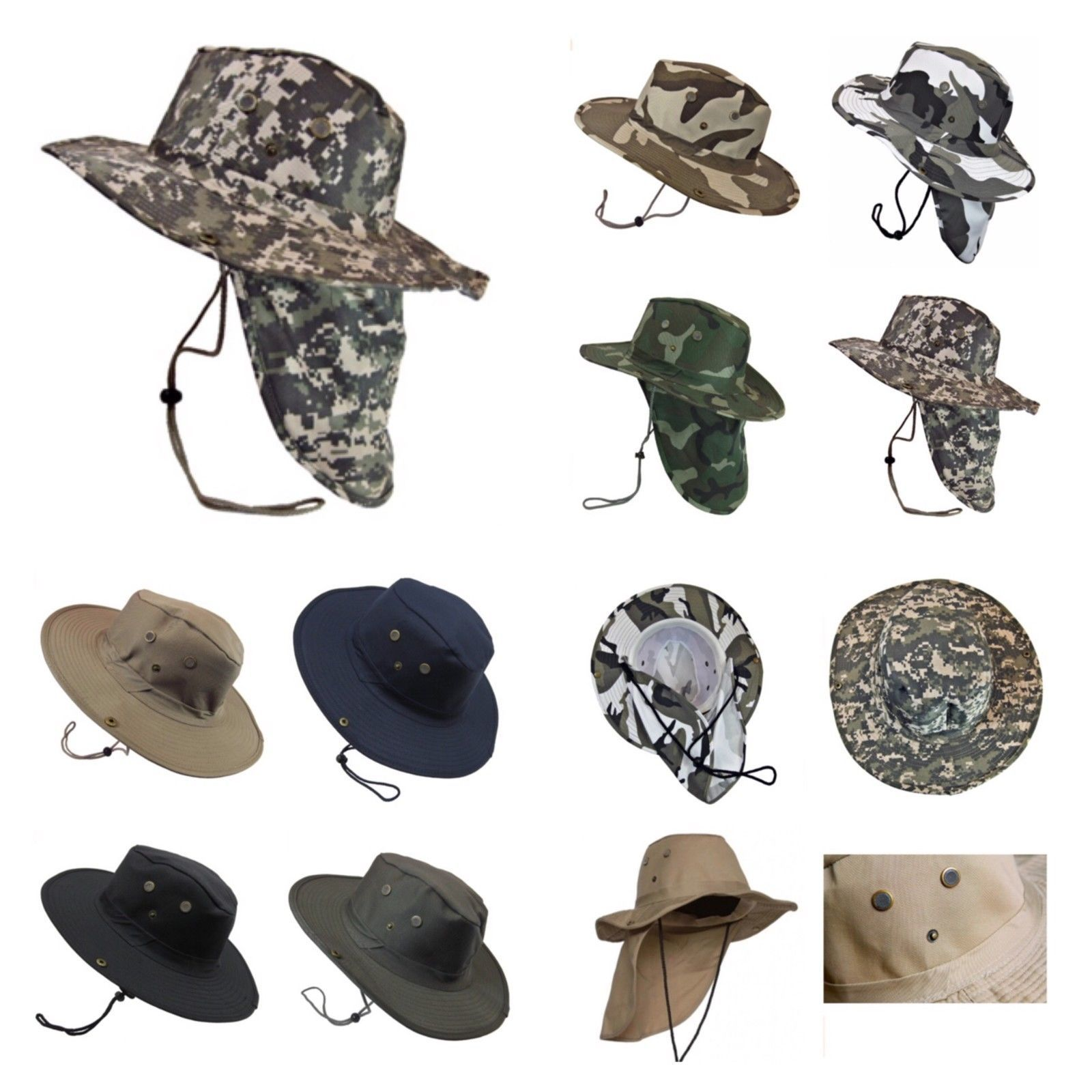 8cbee7d1c7f Boonie Fishing Hiking Army Military Snap Brim Neck Cover Bucket Sun Flap  Hat Cap