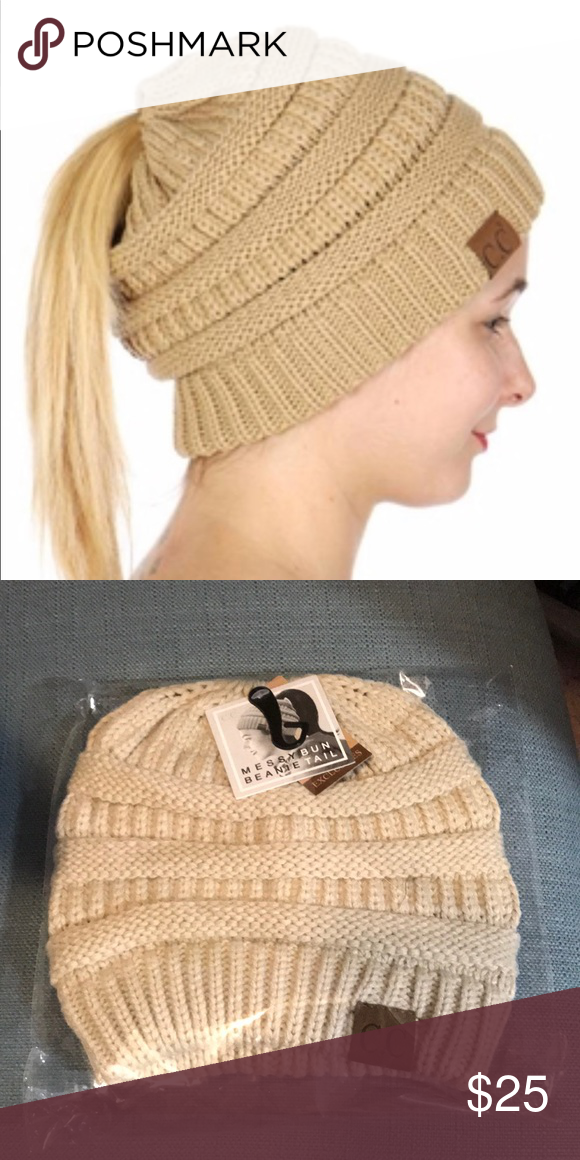 C.C. Classic Ponytail Messy Bun Beanie Tan Tan knit beanie with an opening  for your ponytail or messy bun. 100% acrylic. One size fits most . 04d790aa066d