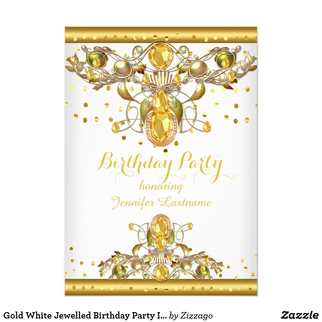 Gold White Jewelled Birthday Party Invitation 2 Sweet 16 Party