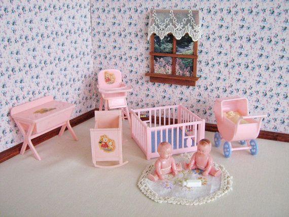Vintage Dollhouse Furniture Renwal Pink Nursery Set In 3 4 Scale