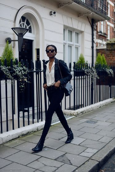 Blouse, Sunglasses, Boots, Bag, Jacket