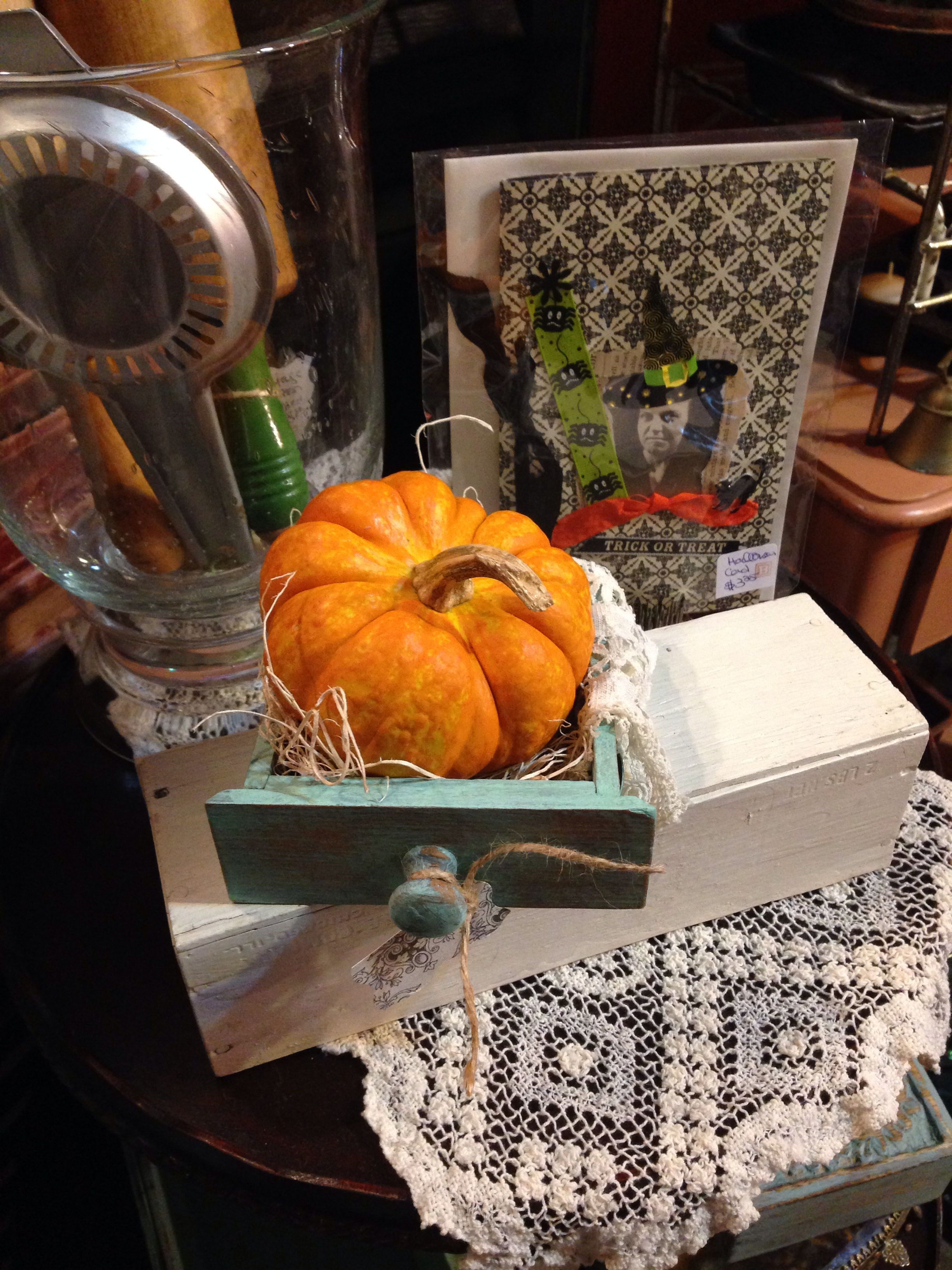 Little Fall Vignette with Painted Drawer, Vintage Lace, and Pumpkin