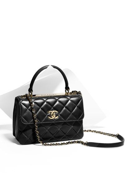 d861535d19 Flap bag with top handle, lambskin & light gold metal-black - CHANEL ...
