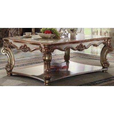 Astoria Grand Esmeralda Coffee Table Color Gold Patina Wood Coffee Table Storage Solid Wood Coffee Table Coffee Table