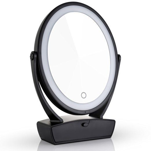 Miusco Two Sided Lighted Makeup Mirror With Vanity Drawer 1x 7x 15x Magnification Usb Charge Natural And Warm Li With Images Makeup Mirror With Lights Led Mirror Mirror