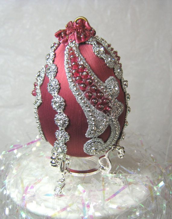 212 E Silver Scrolls Egg Ornament by WhiteHawkOriginals on Etsy