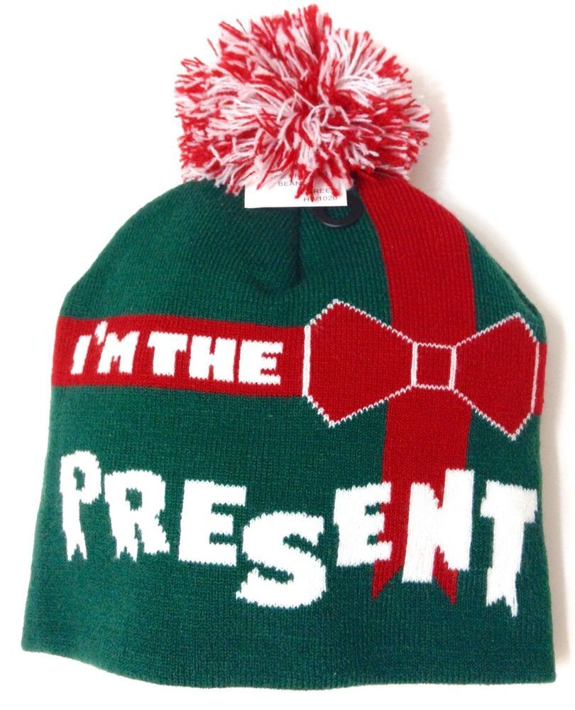 a50264b4e22f1 new I M THE PRESENT POM BEANIE Green Red White Christmas Holiday Winter  Knit Hat  Beanie