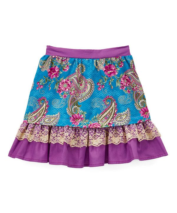 Look at this Little Miss Fashion Plum & Blue Floral Trumpet Skirt - Infant, Toddler & Girls on #zulily today!
