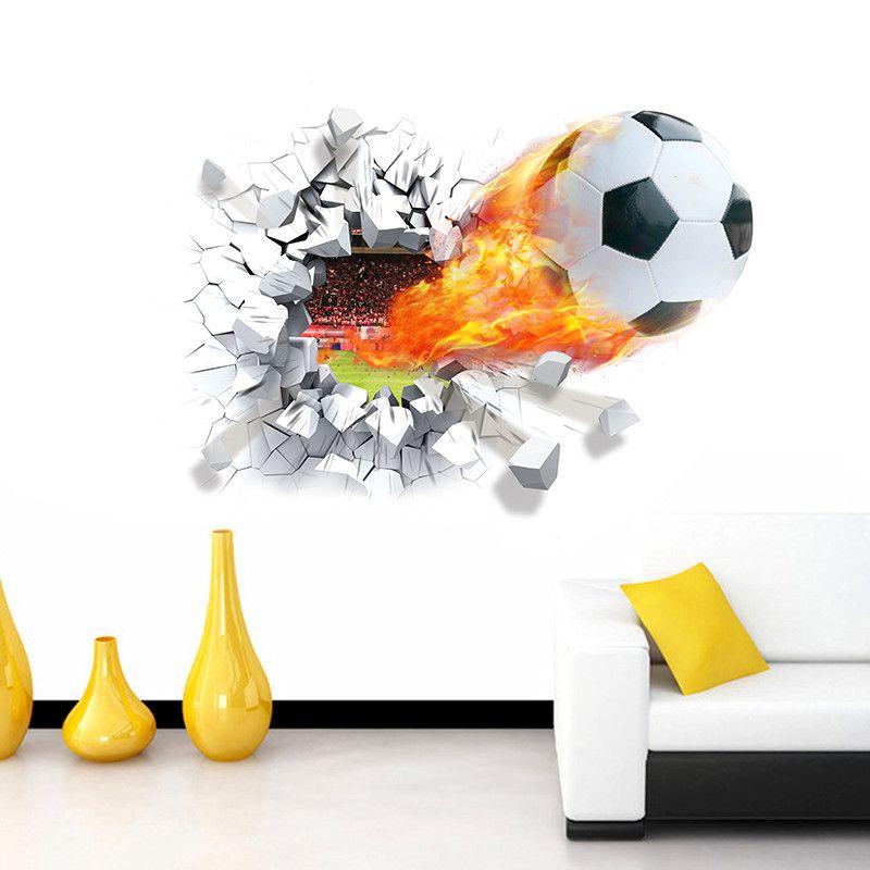 voetbal bal door de muurstickers tv achtergrond verwijderbare woonkamer slaapkamer muurstickers jongens kamer decoratie in voetbal