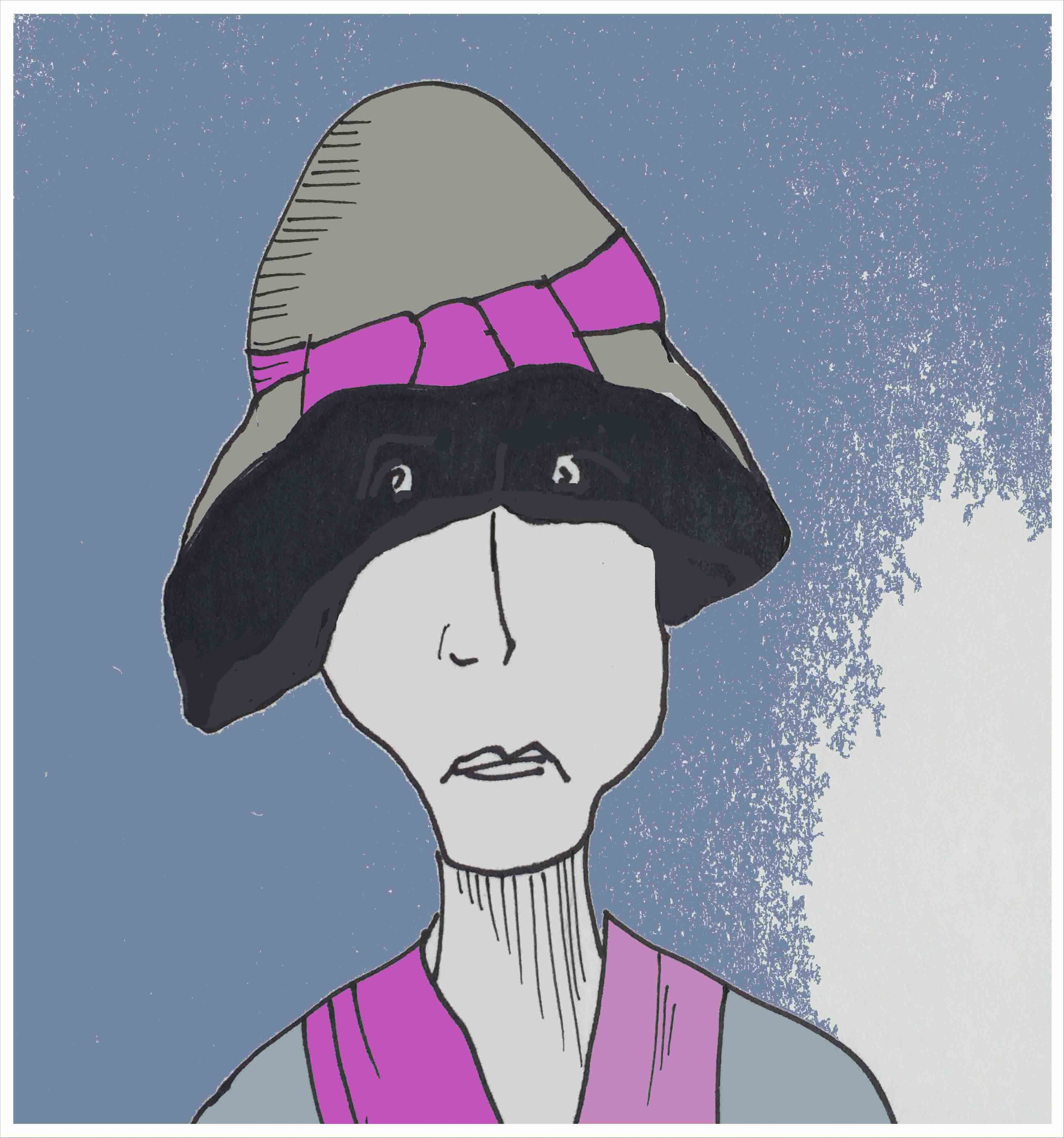 ART EVERY DAY NUMBER 68 / DRAWING / ILLUSTRATION / shade Art every day number 68 shows a woman who sat in a sunny park, almost 80 years ago.  Her eyes are shaded by a 1930s 'cloche style' hat.  One small piece of art & illustration a day / Janet Bright  #drawing #hat #shade