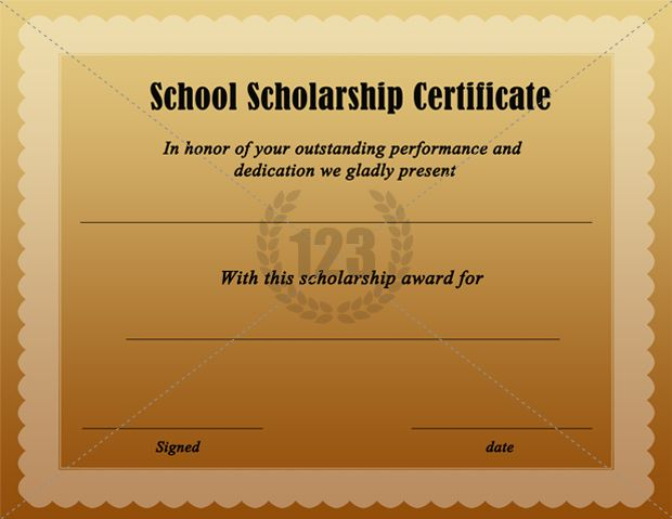 Free Download School Scholarship Certificate Certificate