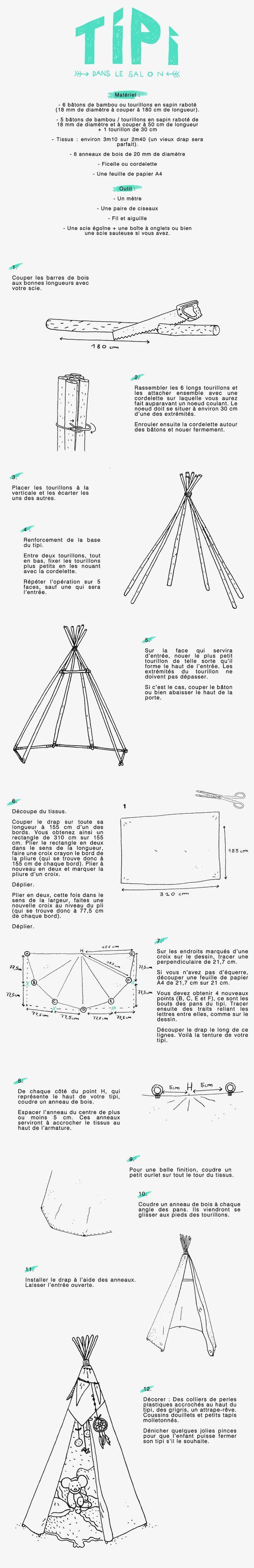diy construire facilement un tipi pour enfant. Black Bedroom Furniture Sets. Home Design Ideas