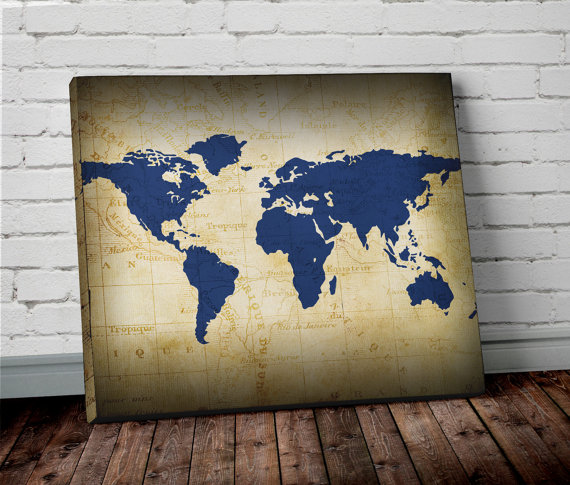 World map wall art canvas world map print in navy by allymacdesign world map wall art canvas world map print in navy by allymacdesign gumiabroncs Image collections