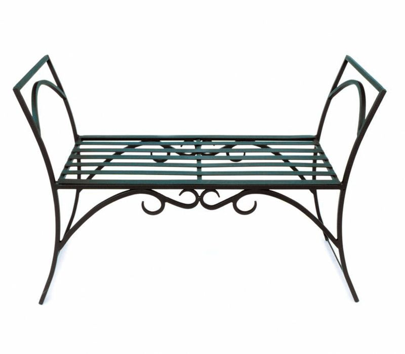 Backless Wrought Iron Bench Bing Images Metal Outdoor Bench