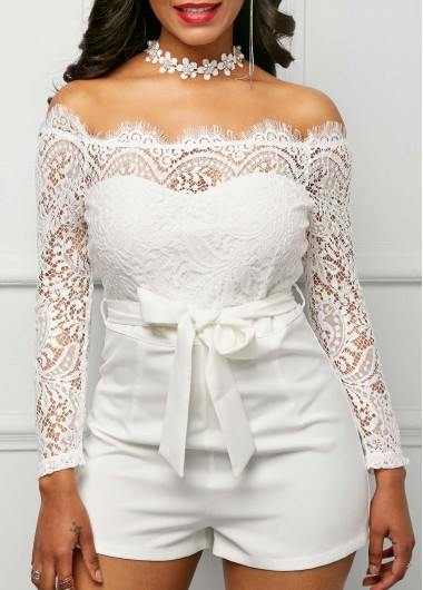 9da2f64230b Lace Panel Off the Shoulder White Romper on sale only US 33.95 now ...