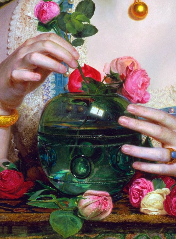 LARGE SIZE PAINTINGS: Frederick SANDYS Grace Rose 1866 (Detail)