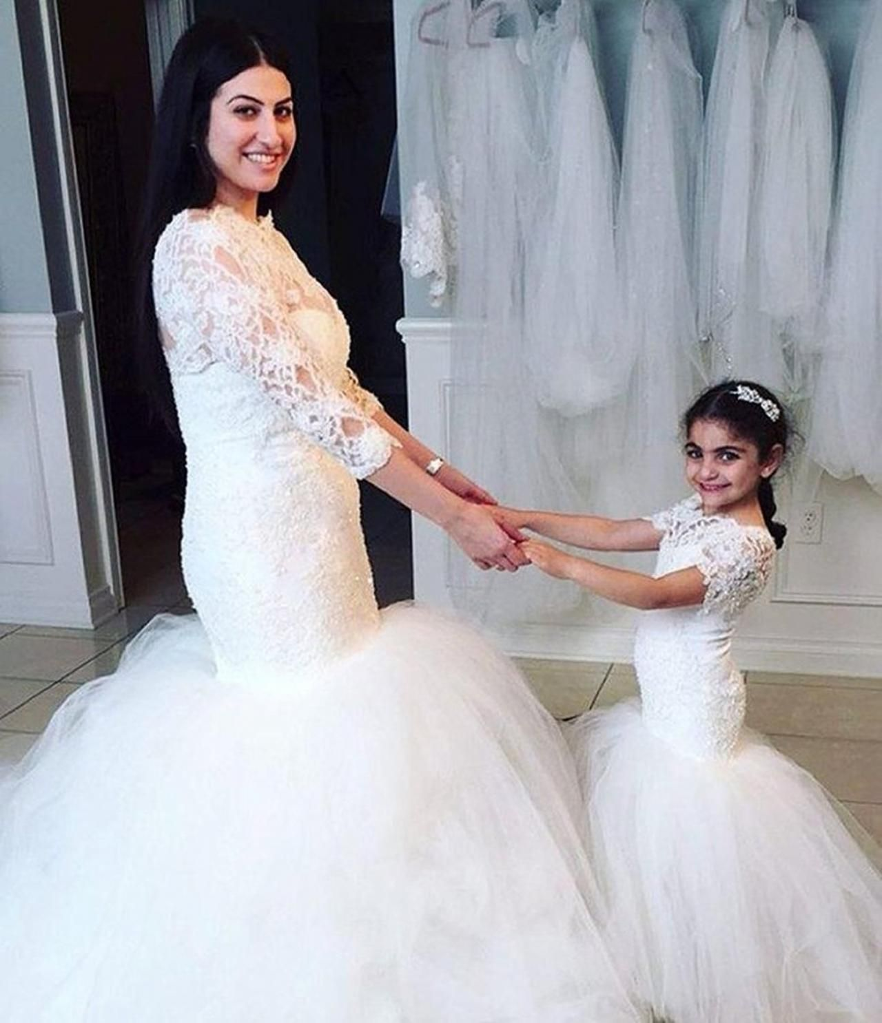 Princess flower girl dresses short sleeves mermaid lace christening