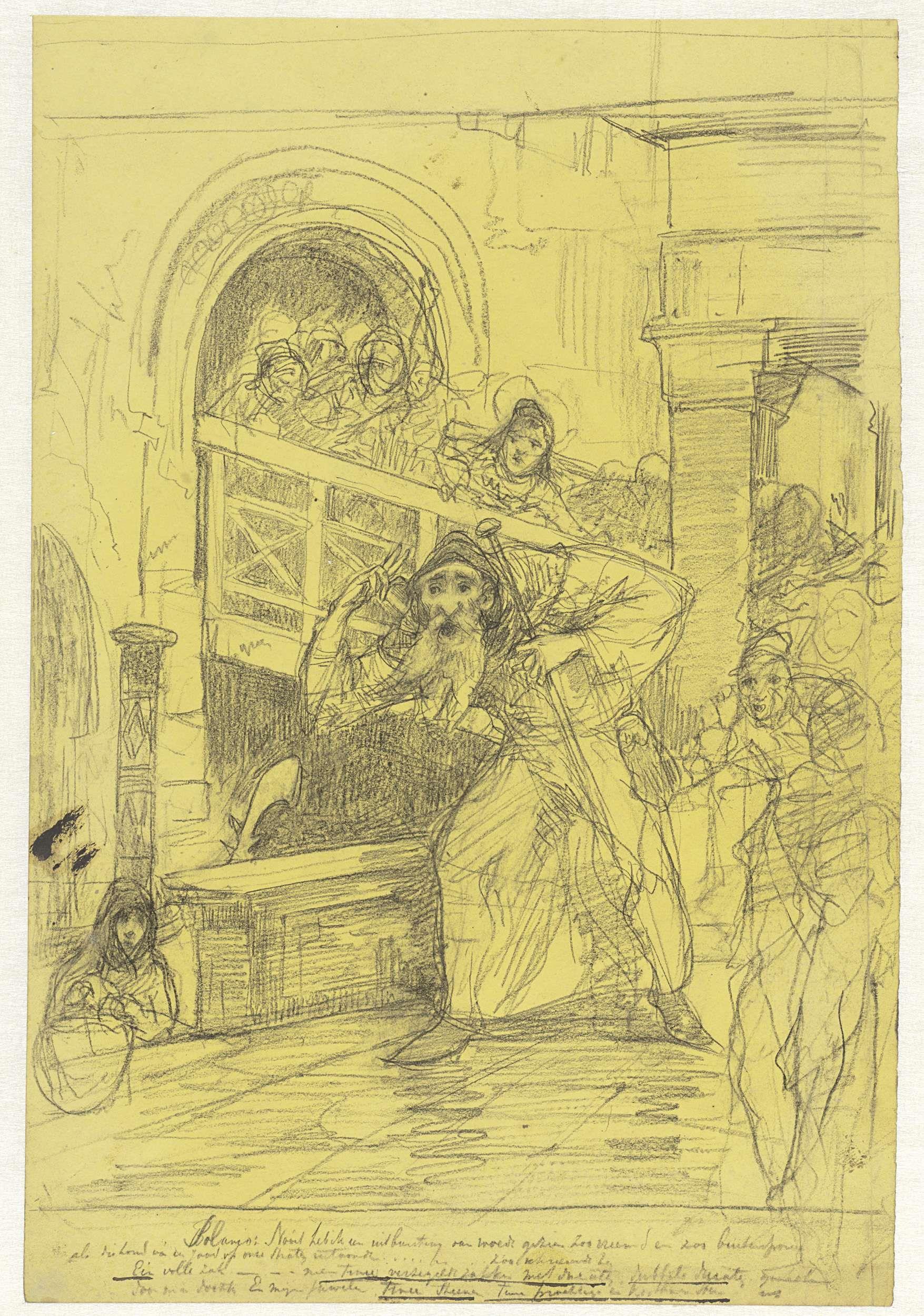 Jac van Looij | De jood Shylock, lopend door de straten, Jac van Looij, 1865 - 1930 |