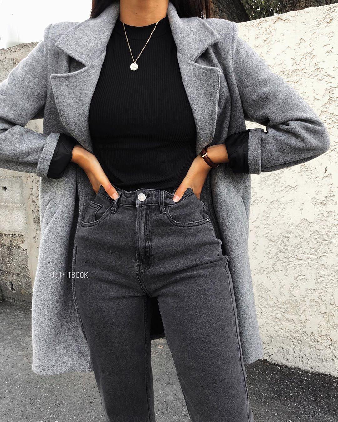 """www.outfitbook.fr en Instagram: """"El imprescindible abrigo gris vuelve a estar de moda …"""