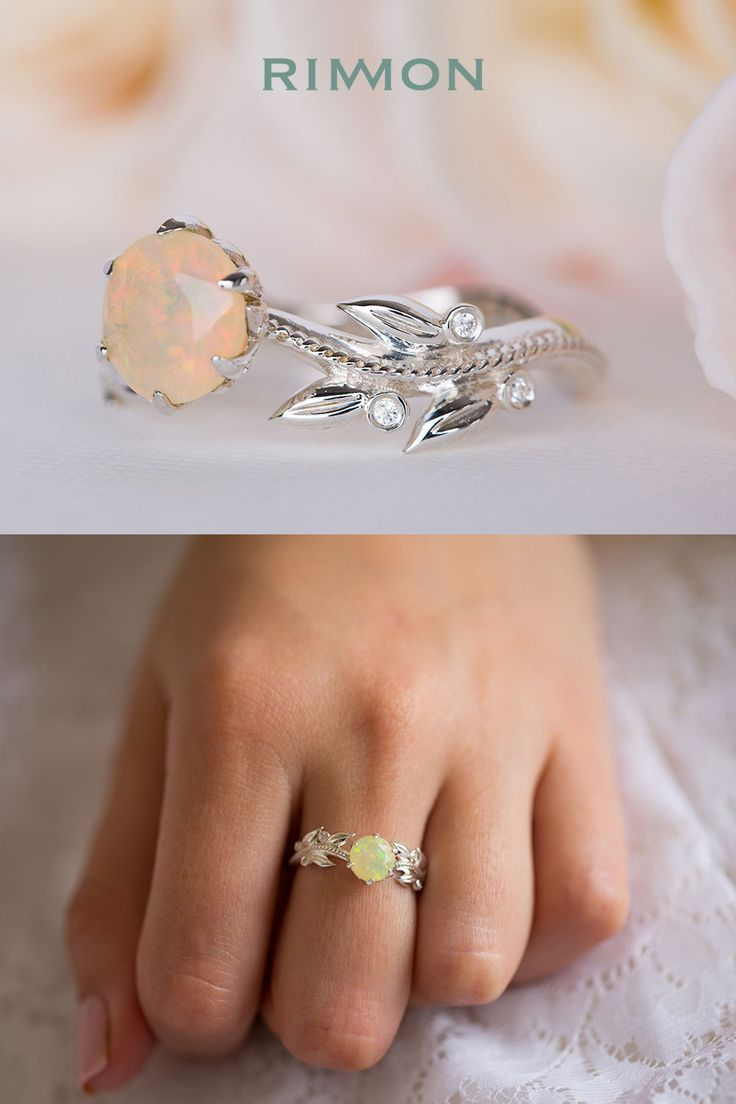 Opal and diamond leaf ring bridal jewelry pinterest rings