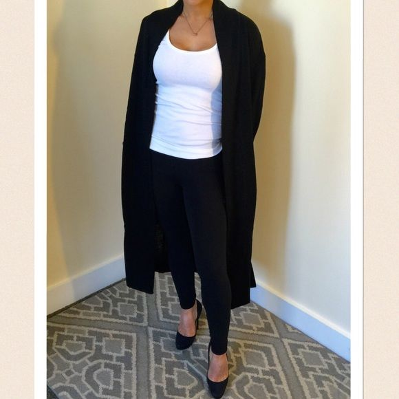 Long black open cardigan Versatile long black knit cardigan. Open ...
