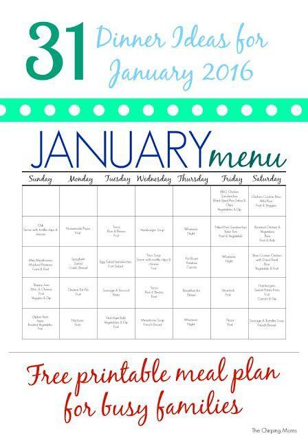 free printable meal plan